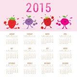 Χαριτωμένο μικτό κινούμενα σχέδια διάνυσμα μούρων ημερολογιακών 2015 φρούτων απεικόνιση αποθεμάτων