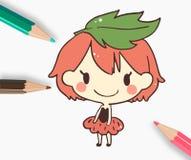 Χαριτωμένο μολύβι χρώματος φραουλών χρωματισμένο κορίτσι επίσης corel σύρετε το διάνυσμα απεικόνισης Στοκ Εικόνα
