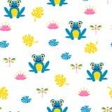Χαριτωμένο μπλε άνευ ραφής διανυσματικό σχέδιο βατράχων απεικόνιση αποθεμάτων