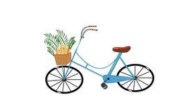 Χαριτωμένο μπλε ποδήλατο με το σύνολο καλαθιών των ψωμιών και των εγκαταστάσεων διανυσματική απεικόνιση