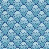 Χαριτωμένο μπλε διανυσματικό άνευ ραφής σχέδιο βουνών Στοκ Εικόνα