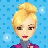 Χαριτωμένο ξανθό κορίτσι ειδώλων διανυσματική απεικόνιση