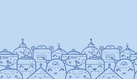 Χαριτωμένο οριζόντιο άνευ ραφής σχέδιο ρομπότ doodle Στοκ Φωτογραφίες