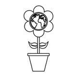 χαριτωμένο λουλούδι με το γήινο πλανήτη Στοκ Φωτογραφία