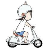 Χαριτωμένο οδηγώντας μηχανικό δίκυκλο κοριτσιών chibi ελεύθερη απεικόνιση δικαιώματος