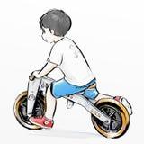 Χαριτωμένο οδηγώντας ποδήλατο αγοριών κινούμενων σχεδίων Στοκ Φωτογραφίες