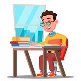 Χαριτωμένο παιδί στα γυαλιά που κάθεται σε ένα γραφείο σε ένα διάνυσμα τάξεων σχολείο απομονωμένη ωθώντας s κουμπιών γυναίκα έναρ διανυσματική απεικόνιση