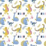 Χαριτωμένο παιδαριώδες άνευ ραφής διανυσματικό σχέδιο με τους δεινοσαύρους με τα αυγά, το ντεκόρ και τις λέξεις Dino Αστεία κινού στοκ εικόνες
