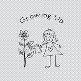 Χαριτωμένο παιδί που ποτίζει ένα λουλούδι διανυσματική απεικόνιση