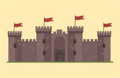 Χαριτωμένο παραμύθι σπιτιών φαντασίας αρχιτεκτονικής εικονιδίων πύργων κάστρων παραμυθιού κινούμενων σχεδίων μεσαιωνικό και σχέδι Στοκ Εικόνα