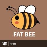 Χαριτωμένο παχύ εικονίδιο συμβόλων μελισσών απεικόνιση αποθεμάτων