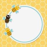 Χαριτωμένο πλαίσιο μελισσών Στοκ Φωτογραφίες