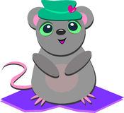 χαριτωμένο ποντίκι καρδιών καπέλων Στοκ Εικόνα