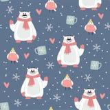 Χαριτωμένο πορφυρό σχέδιο Χριστουγέννων με τις αρκούδες Στοκ φωτογραφίες με δικαίωμα ελεύθερης χρήσης