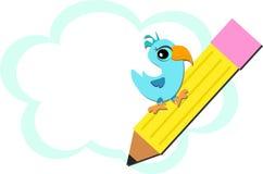 Χαριτωμένο πουλί σε ένα μολύβι με το υπόβαθρο σύννεφων διανυσματική απεικόνιση