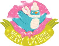 Χαριτωμένο πουλί Χριστουγέννων Στοκ εικόνες με δικαίωμα ελεύθερης χρήσης