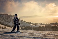 Χαριτωμένο προσχολικό παιδί, αγόρι, που κάνει σκι ευτυχώς σε αυστριακό Apls Στοκ εικόνες με δικαίωμα ελεύθερης χρήσης