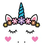 Χαριτωμένο πρόσωπο μονοκέρων με τα λουλούδια ουράνιων τόξων κρητιδογραφιών που απομονώνεται απεικόνιση αποθεμάτων