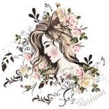 Χαριτωμένο πρόσωπο girl's με το μακρυμάλλες ύφος σκίτσων Στοκ εικόνες με δικαίωμα ελεύθερης χρήσης