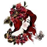 Χαριτωμένο πρόσωπο girl's με το μακρυμάλλες ύφος σκίτσων Στοκ Εικόνες