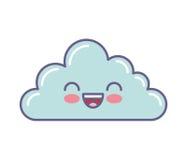 Χαριτωμένο πρόσωπο kawaii σύννεφων Στοκ εικόνα με δικαίωμα ελεύθερης χρήσης