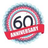 Χαριτωμένο πρότυπο 60 έτη επετείου με τα μπαλόνια και την κορδέλλα Vect Στοκ Εικόνα