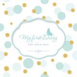 Χαριτωμένο πρότυπο για την κάλυψη σημειωματάριων για τα κορίτσια Το πρώτο ημερολόγιό μου Πλαίσιο διακοπής λέιζερ στο άνευ ραφής σ απεικόνιση αποθεμάτων