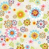 χαριτωμένο πρότυπο γραμμών λουλουδιών τέχνης άνευ ραφής Στοκ Εικόνα