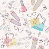 χαριτωμένο πρότυπο κοριτσιών μόδας άνευ ραφής Στοκ εικόνες με δικαίωμα ελεύθερης χρήσης