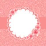 Χαριτωμένο πλαίσιο με τη ροδαλή διανυσματική απεικόνιση λουλουδιών Στοκ Φωτογραφίες