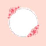 Χαριτωμένο πλαίσιο με τη ροδαλή διανυσματική απεικόνιση λουλουδιών Στοκ Φωτογραφία