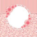 Χαριτωμένο πλαίσιο με τη ροδαλή διανυσματική απεικόνιση λουλουδιών Στοκ Εικόνα