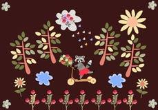 Χαριτωμένο ρακούν κινούμενων σχεδίων που οδηγά ένα μηχανικό δίκυκλο με μια ανθοδέσμη των λουλουδιών Στοκ εικόνες με δικαίωμα ελεύθερης χρήσης