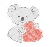 Χαριτωμένο σκίτσο καρδιών εκμετάλλευσης koala κινούμενων σχεδίων Χρωματισμένο μολύβι ύφος Απεικόνιση αποθεμάτων