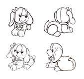 Χαριτωμένο σκυλάκι σκίτσων από τις διαφορετικές γωνίες απεικόνιση αποθεμάτων