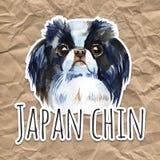 Χαριτωμένο σκυλί - ιαπωνικό πηγούνι απεικόνιση watercolor που απομονώνεται ελεύθερη απεικόνιση δικαιώματος