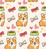 Χαριτωμένο σκυλί με τα παιχνίδια και το υπόβαθρο kawaii τροφίμων απεικόνιση αποθεμάτων