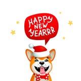 Χαριτωμένο σκυλί με την επιγραφή καλής χρονιάς Χαμόγελο του κίτρινου σκυλιού με το κόκκινο καπέλο Άγιου Βασίλη σε ένα μπλε υπόβαθ Στοκ εικόνες με δικαίωμα ελεύθερης χρήσης