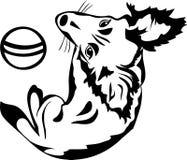 Χαριτωμένο σκυλί με μια σφαίρα, μαύρο διάτρητο Στοκ Εικόνες