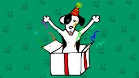 Χαριτωμένο σκυλί σε ένα κιβώτιο Παρούσα συρμένη χέρι ζωτικότητα κινούμενων σχεδίων Bithday
