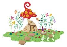 Χαριτωμένο σπίτι μανιταριών κρητιδογραφιών διανυσματική απεικόνιση