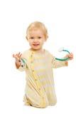Χαριτωμένο στηθοσκόπιο παιχνιδιού μωρών στο λευκό Στοκ Φωτογραφία