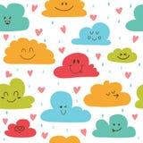 Χαριτωμένο συρμένο χέρι άνευ ραφής σχέδιο με τα σύννεφα, τις πτώσεις και τις καρδιές Στοκ Εικόνα