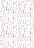 Χαριτωμένο συρμένο χέρι αφηρημένο Floral διανυσματικό σχέδιο Παιδικό σχέδιο ύφους Ρόδινες λουλούδια και καρδιές, γκρίζοι κλαδίσκο ελεύθερη απεικόνιση δικαιώματος