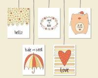 Χαριτωμένο συρμένο χέρι doodle ντους μωρών, γενέθλια, κάρτες κομμάτων Στοκ εικόνα με δικαίωμα ελεύθερης χρήσης