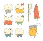 Χαριτωμένο συρμένο χέρι doodle δόντι Στοκ Εικόνα