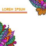 Χαριτωμένο συρμένο χέρι floral υπόβαθρο doodle στα φωτεινά χρώματα Στοκ Φωτογραφίες