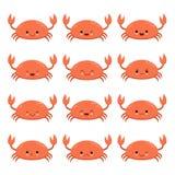 Χαριτωμένο σχέδιο καβουριών κινούμενων σχεδίων κόκκινο Διανυσματική απεικόνιση χαρακτήρα καβουριών Συγκίνηση Emoji διανυσματική απεικόνιση
