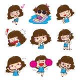 Χαριτωμένο σχέδιο χαρακτήρα κοριτσιών γυαλιών στις διαφορετικές συγκινήσεις και τις εκφράσεις διανυσματική απεικόνιση