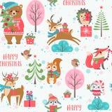 Χαριτωμένο σχέδιο ζώων Χριστουγέννων ελεύθερη απεικόνιση δικαιώματος